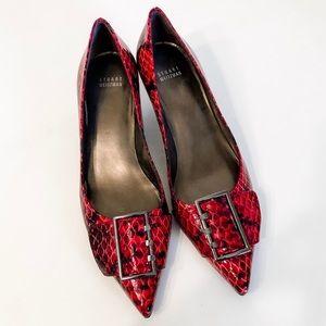 Stuart Weitzman Red Snakeskin Embossed Point Heels